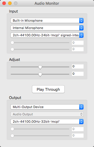 Listen microphone with your computer speaker: Audio monitor (for Mac)